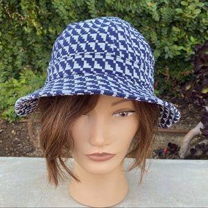 GOORIN BROS houndstooth bucket hat navy blue white sunhat sun protection NEW